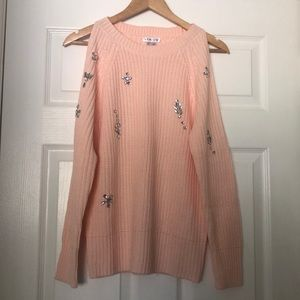 New w/o tags Peachy Pink Open Shoulder Sweater